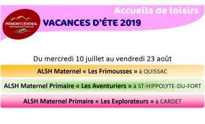 Centres de loisirs : vacances été 2019