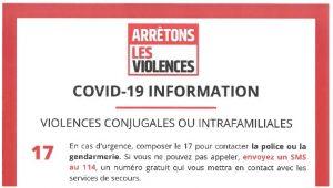 COVID 19 : violences conjugales ou intrafamiliales